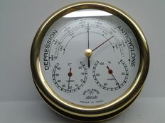 Special watertight barometer marine with barometer-thermometer-hygrometer in solid brass and glass - ALTITUDE - made in France - 1980-