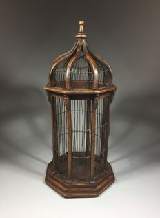 Eight-sided wooden bird cage in Victorian style, second half of 20th century