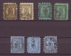 Finland 1866/70, selection of cancelled stamps with various perforations.