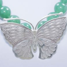 925 silver necklace and  green jade  with silver butterfly motif and brooch  Necklace: 55 cm