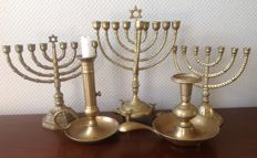 Jewish and other copper/bronze candlesticks - Israel - 20th century