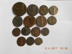 Roman Empire – 15 AE coins – 1st-4th century A.D. Various emperors and denominations