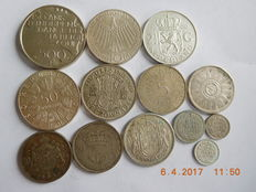 World – Austria/Belgium/The Netherlands/Germany/Canada – 50 schillings/500 francs/2½ guilder/20 francs/5 mark/50 cents/half crown/25 cents/10 cents/Arabic 1909/1980, 13 pieces of silver