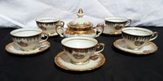 Batch of 5 small cups with saucers and a porcelain sugar bowl Bavienthal - Germany 1940