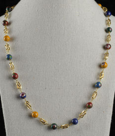 18k Yellow gold choker with cage design, cloisonné and spring ring clasp - Length (including clasp): 55.7 cm