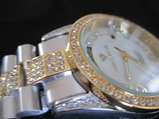 Yves Camani Tiberius Ladies Watch Bicolor Stainless Steel Bi-Color Mother of Pearl White Yellow New