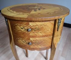 Side table with inlaid (marquetry) in fruit wood, second half 20th century