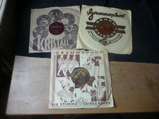 3 old shellac records, marching music WW II, Horst Wessel Song, etc.