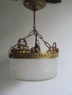 Gilt brass hanging lamp with cut glass, approx.1930, France