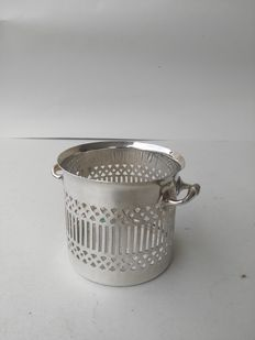 Delicious cutlery basket with pierced decoration and silver plated glass c1920