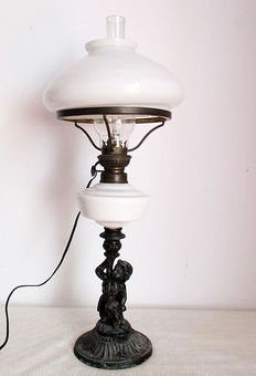 Metal/antimonium? old lamp with chimney numbered, 1st half of the 20th century,