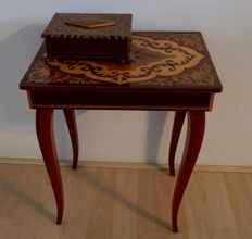 Italian wooden music table and music box