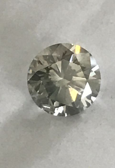 1 pcs Diamant - 0.89 ct - Brillant - Légèrement fantaisie gris - SI3