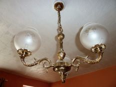 3 tier Chandelier & wall sconces with frosted glass shades, second half 20th century
