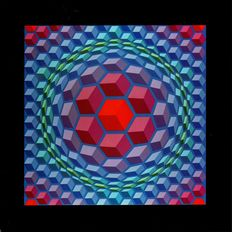 Victor Vasarely - Hexagon (two works)