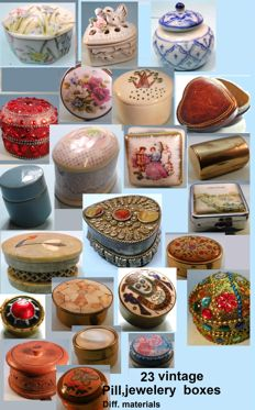 Collection of 23 vintage jewelry / pillboxes
