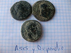 Roman Empire – Batch of 2 As coins from Domitian and Trajan, 1 dupondius from Marcus Aurelius (3x)
