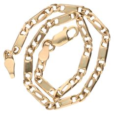 14 kt yellow gold bracelet with flat curb links Length: 18.5 cm