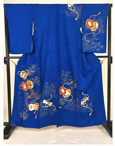 "Silk kimono ""Japanese drums in blue"" - Japan - first half of the 20th century"