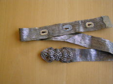 Antique silver filigree and braided belt - Ottoman Empire - beautiful patina - weight 186 grams - length 89.5 cm