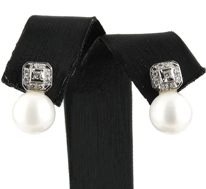 18 kt white gold – Earrings – 0.35 ct Diamonds – South Sea (Australian) Pearls