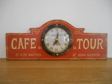 Wooden promotional clock from 'Café de la Tour' - 2nd half of the 20th century