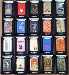 "Collection of 20 Limited Edition ""Find the Hidden Z"" Zippo lighters in original box with pappers"