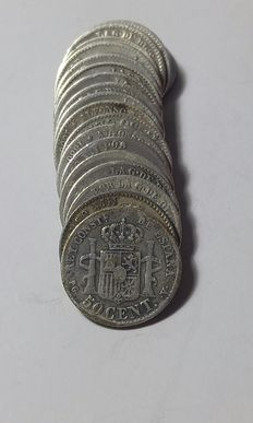 Spain - 19 coins of 50 cents