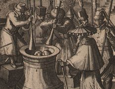 Romeyn de Hooghe (1645-1708)  - A commander crushed in a mortar and other Asian punishments - Published by Van der Aa - 1710