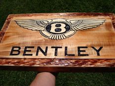 Bentley - Large logo carved in wood - 50 x 32 cm