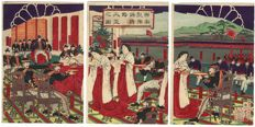 Large, original triptych woodcut by an artist from the Meji era – Japan – 1876