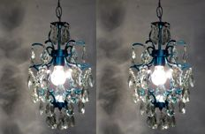 Pair Blue brass and crystal chandelier, late 20th century