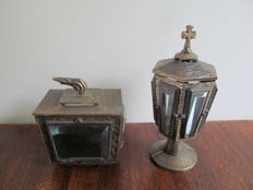 Two bronze-plated metal candle holders with bevelled glass - France - first half of 20th century