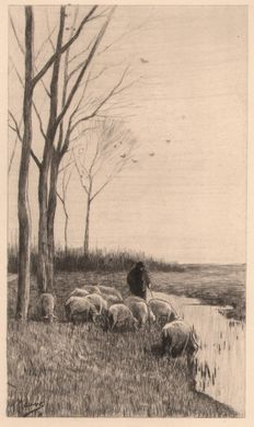Anton Mauve (1838 - 1888) - Herd with sheep along a river - Ca. 1880