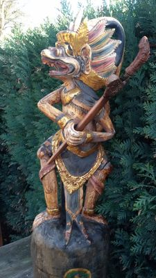 Large polychrome wooden keris holder in the shape of Hanuman with keris - Bali - Indonesia