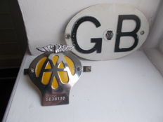 vintage   AA    GB alloy plate original 1960s and a  1966-7    aa  chrome car badge with original fixings