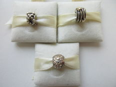 Pandora charms, set of 3 - 925 silver - curls - spheres - rings - 14 kt.