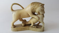 Italian ivory carving of a lion and deer - 19th century