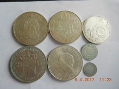 The Netherlands, 10 cents up to and including 50 guilder coins  1897/1996 (7 pieces) – silver.