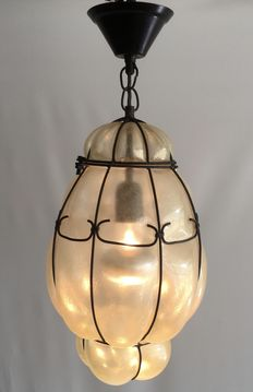 Venetian hanging lamp - blown and shaped matted glass - mid-20th century