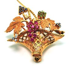 Flower Basket Brooch - Made of 18K Gold, Sapphires, Emeralds, Rubies and diamond - Size 4cm x 4.5cm x 2cm