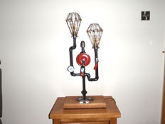 Steampunk Metal Craft  Reinvented Belly Brace Hand Drill Table Lamp