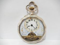 RARE Antique Sterling Silver Case DODECAGONAL 8 Days HEBDOMAS Pocket Watch