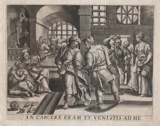 Maarten de Vos (1532-1603) - Visiting the prisoners - First state -  Around 1580