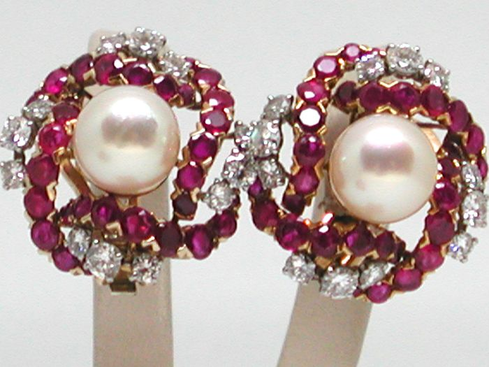 1.6 ct Diamond and 3 ct Ruby earrings set with 9 mm Akoya Pears