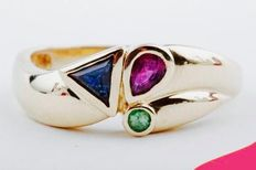 Attractive 14 kt yellow gold women's design ring, with sapphire, ruby and emerald (1.1 ct)