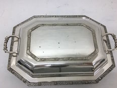 Antique entree dish in e.p.n.s., England, around 1890