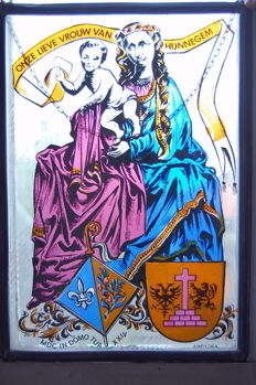 Stained glass window with Our Lady of Hunnegem - Amphora - Belgium