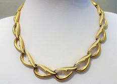 Signed MONET - Vintage Gold & Ivory Enamel Necklace - 1960/70s