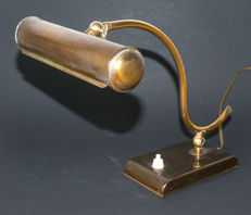 Copper adjustable Dutch piano/desk lamp, first half 20th century, the Netherlands